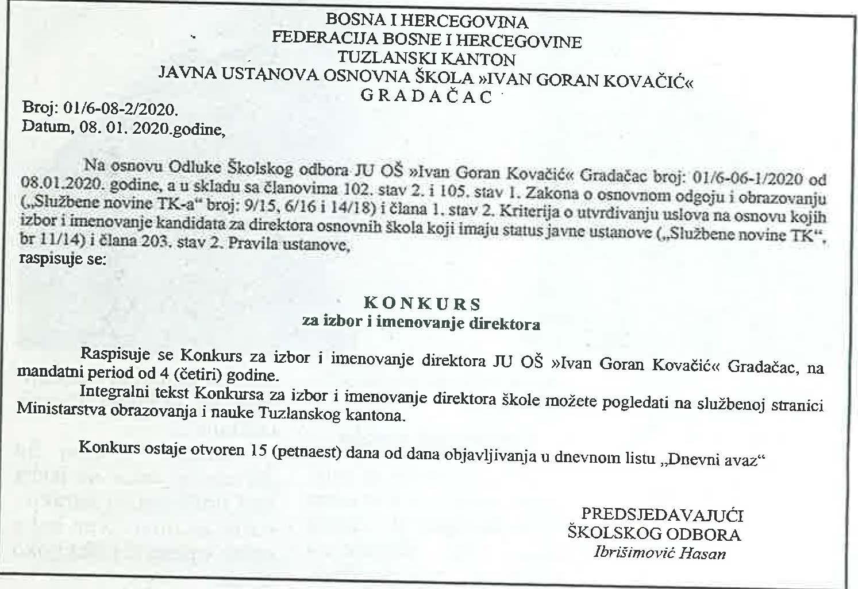 Konkurs Za Izbor I Imenovanje Direktora Ju Osnovna Skola Ivan